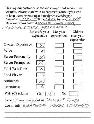 The Grapevine Restaurant and Catering - Testimonial